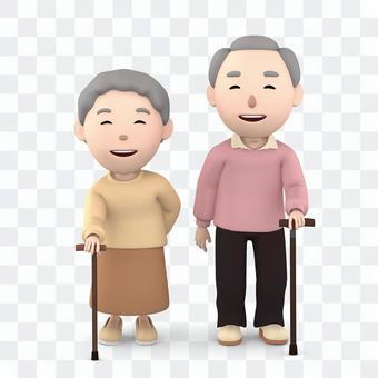 Elderly couple sticking a stick 02