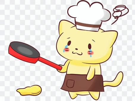 Cat and chef (dropping hot cake)