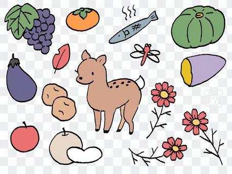 手描き 秋のお出かけセットB 鹿