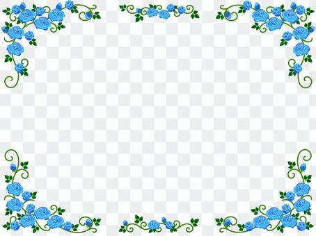 青いバラのフレーム