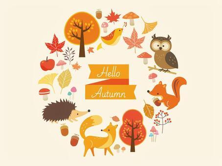 秋天的動物和植物插圖