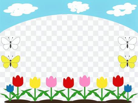 チューリップ、春のフレーム