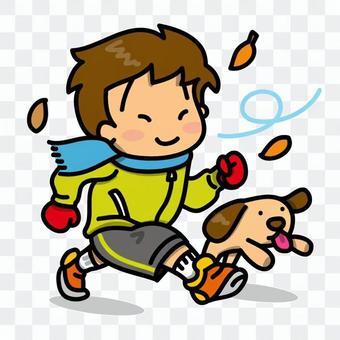 在秋天的天空下,奔跑的男孩和wanko