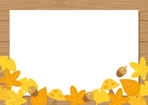 Autumn leaves leaf paper wood grain frame background
