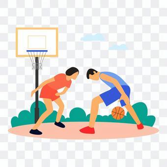 男人和女人在戶外打籃球