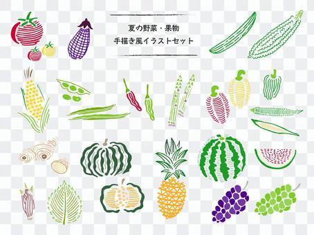 夏野菜・果物の手描きイラストセット