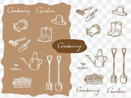 園藝用品線描 - 棕褐色