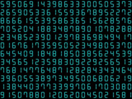 淡藍色的許多模糊的數字