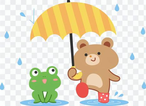 Frog and bear rainy season material