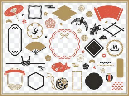 日式郵票框架和圖標集
