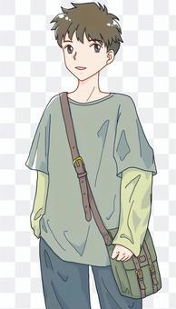 一個男孩在他肩上的書包