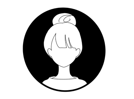 Monochrome icon_young woman_up hair
