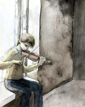 一個人在黑暗中拉小提琴的水彩