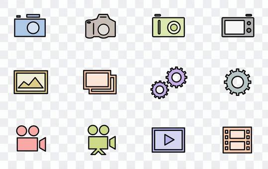 數碼相機和單反相機的彩色圖標