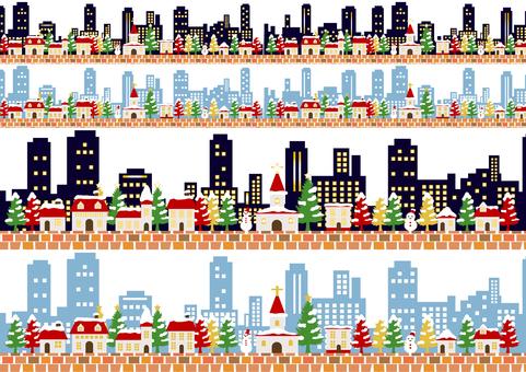 聖誕城市線集透明螞蟻