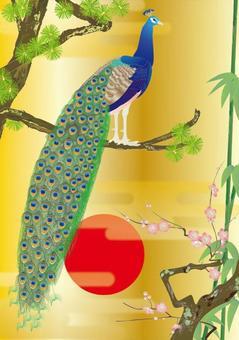 Peacock details _ Kimonos pattern Shochiku Meishi _ gold