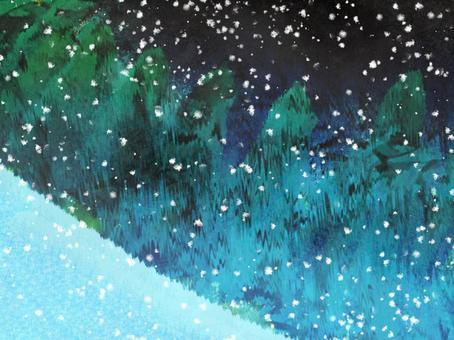 Watercolor Night snow