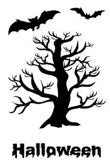 Bat Scenery of Scary Halloween Scarlet Tree