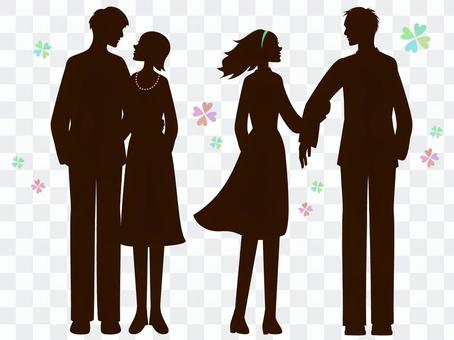 Fashionable couple's silhouette 2