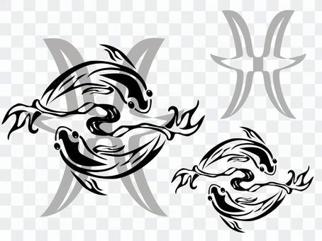 モノクロアート トライバル 星座 魚座
