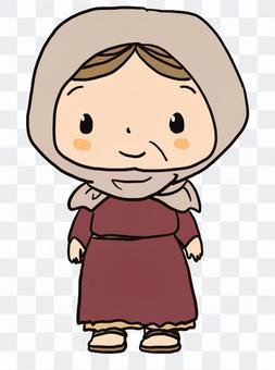 一個微笑的老婦的聖經人物