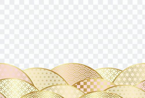 新年賀卡模板與日本圖案背景