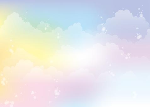 Seven-color empty background, A4 horizontal, Tufu pay