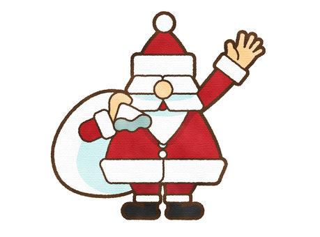 聖誕老人用水彩筆打招呼