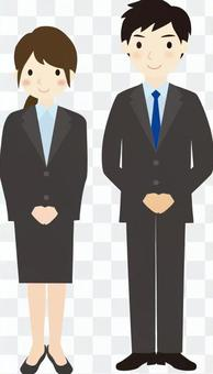 Business men and women whole body greetings 2