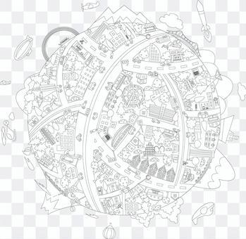 活潑的地球城市景觀線條藝術圖畫書