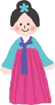 一個韓國服裝的女孩