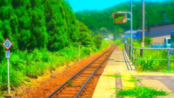 從農村無人站台看鐵軌