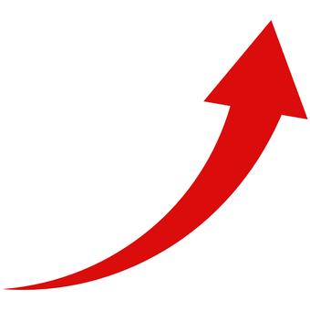 Arrow gentle curve soaring red