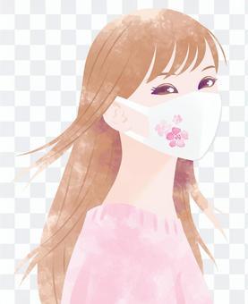 女人粉紅色與花卉面具