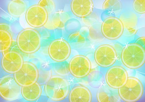 檸檬片放入碳酸水中