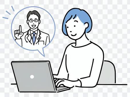 一位女性在個人電腦上接受遠程醫療