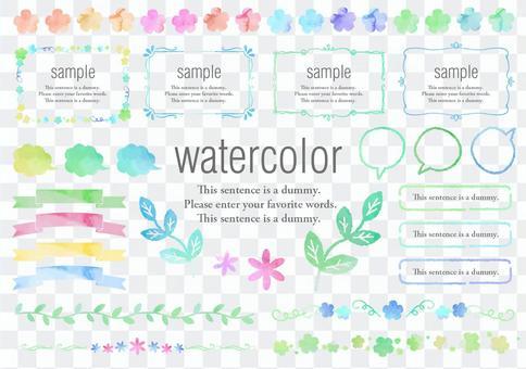 水彩材料016綠色和花框架集