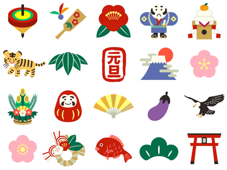 Colorful and cute New Year icon set