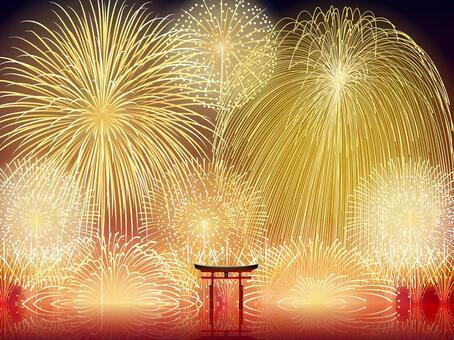 廣島柏島神社的鳥居煙花燃放夏季及世界遺產