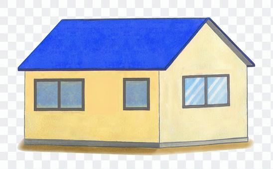 藍色屋頂的房子