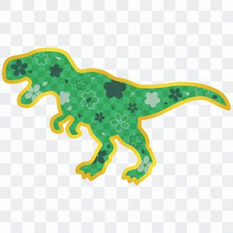 Japanese style Tyrannosaurus with a pattern of green cherry blossoms