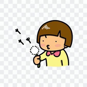 一個女孩飛蒲公英的絨毛的插圖
