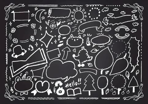 Blackboard style blowing line frame frame