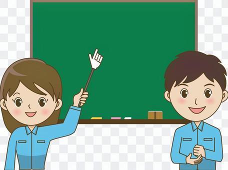 Light working men and women (blackboard)