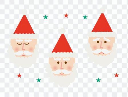 サンタクロース表情3種