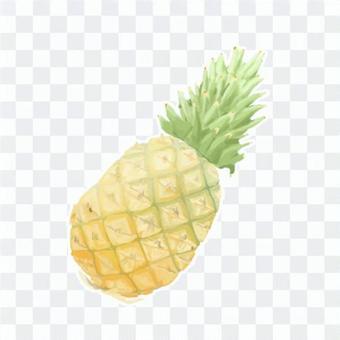 厚塗り風イラストのパイナップル