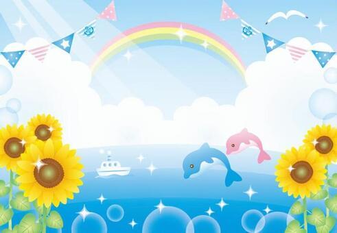 海,向日葵和海豚