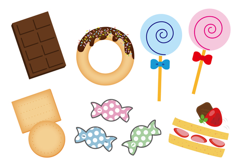 11 illustrations (6 kinds of sweets)