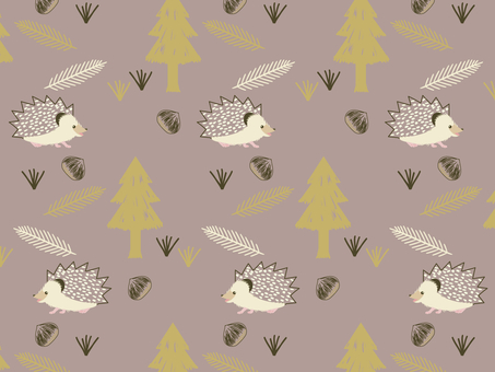 Autumn forest and hedgehog pattern