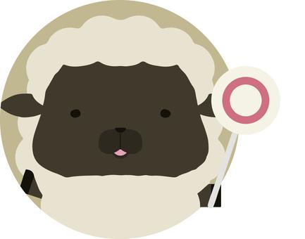 Placard_sheep_black_circle